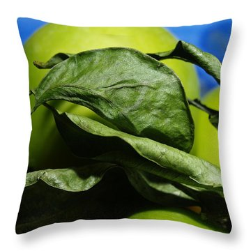 Apple Leaves Throw Pillow by Michael Canning