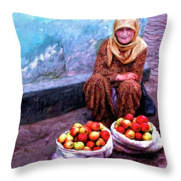 Apple Seller Throw Pillow by Dominic Piperata