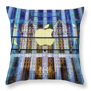 Throw Pillow featuring the photograph Apple Store And Plaza Hotel Reflection by Mitch Cat