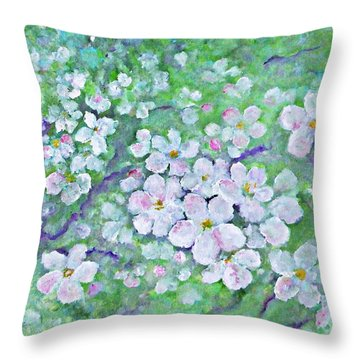 Throw Pillow featuring the painting Apple Tree Flowers by AmaS Art
