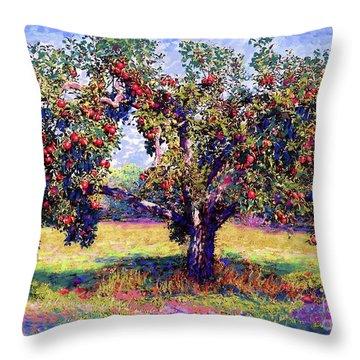 Apple Tree Orchard Throw Pillow