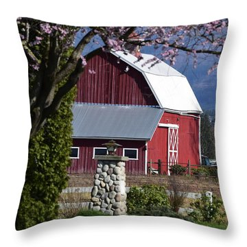 Apple Tree Pink And Barn Red Throw Pillow