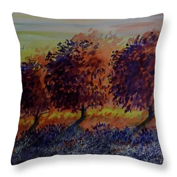 Apple Tree Sunset Watercolor Throw Pillow By David K Myers
