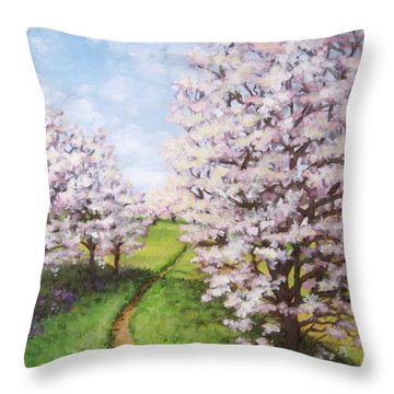 Apple Trees Along The Path Throw Pillow