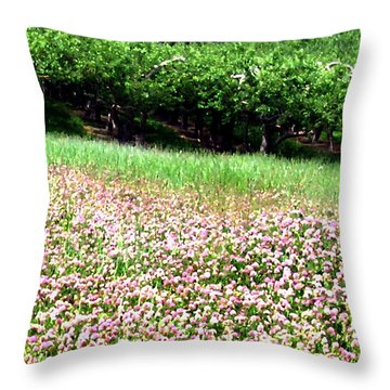 Apple Trees And Clover Throw Pillow by Will Borden