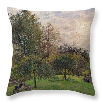 Apple Trees And Poplars In The Setting Sun Throw Pillow by Camille Pissarro