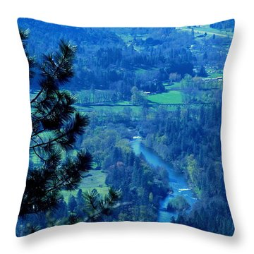 Throw Pillow featuring the photograph Applegate River From On Top Of Bolt Mountain by Marie Neder