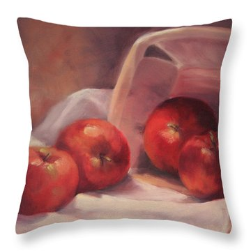 Apples And  Basket Throw Pillow