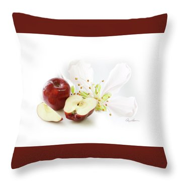 Apples And Blossom Throw Pillow