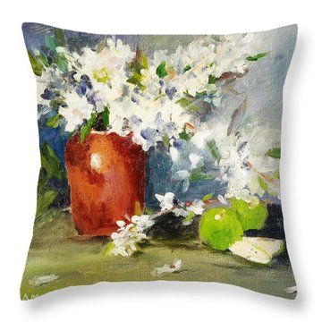 Apples And Blossoms Throw Pillow