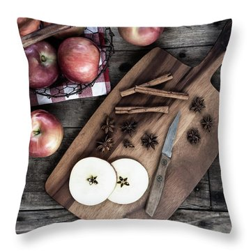 Throw Pillow featuring the photograph Apples And Cinnamon  by Kim Hojnacki