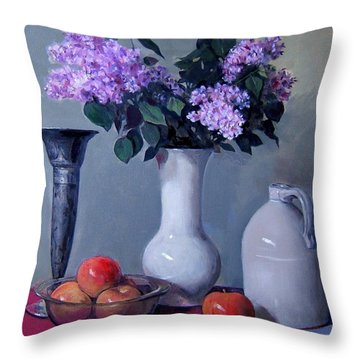 Apples And Lilacs, Silver Vase, Vintage Stoneware Jug Throw Pillow