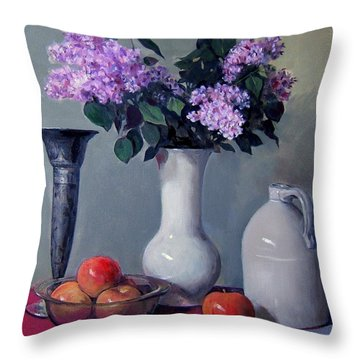 Apples And Lilacs,silver Vase,vintage Stoneware Jug Throw Pillow