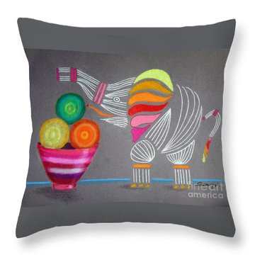 Apples And Oranges And Elephants, Oh My -- Whimsical Still Life W/ Elephant Throw Pillow