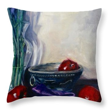 Apples And Silk Throw Pillow by Rebecca Glaze
