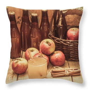 Apples Cider By Wicker Basket On Wooden Table Throw Pillow
