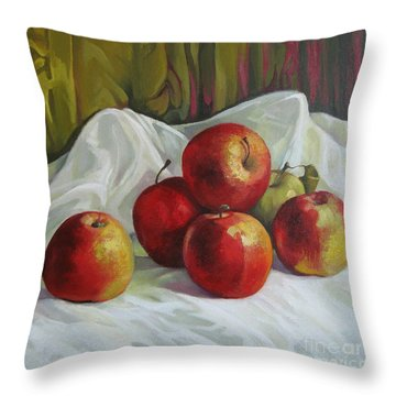 Throw Pillow featuring the painting Apples by Elena Oleniuc