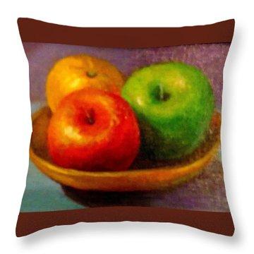 Apples Throw Pillow by Eun Yun
