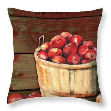 Apples For Sale Throw Pillow by Arline Wagner