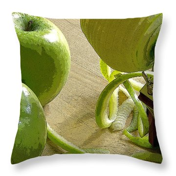 Apples Getting Peeled Throw Pillow