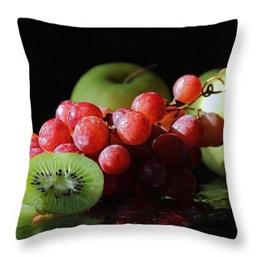 Apples, Grapes And Kiwi  Throw Pillow