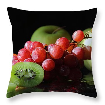 Apples, Grapes And Kiwi  Throw Pillow