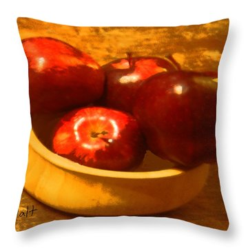 Apples In A Bowl Throw Pillow by Walter Chamberlain