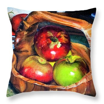 Apples In A Burled Bowl Throw Pillow