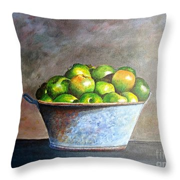 Apples In A Rusty Bucket Throw Pillow