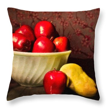 Apples In Bowl With Pear Throw Pillow