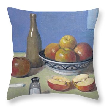 Apples In Moroccan Bowl, Salt And Vintage Bottle Throw Pillow