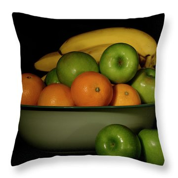 Throw Pillow featuring the photograph Apples, Oranges And Bananas 1 by Angie Tirado