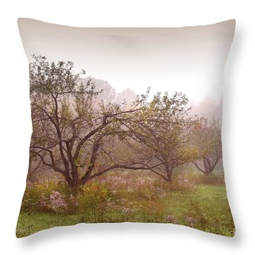 Apples Trees In The Mist Throw Pillow by Sandra Cunningham
