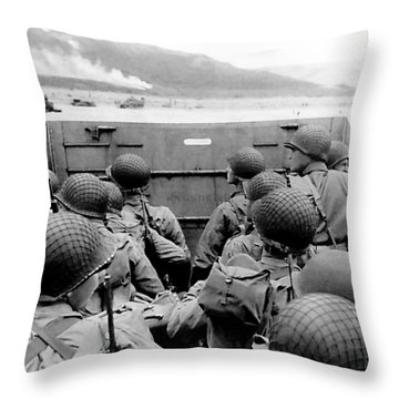 Approaching Omaha Beach - Invasion Of Normandy - June 6, 1944 Throw Pillow