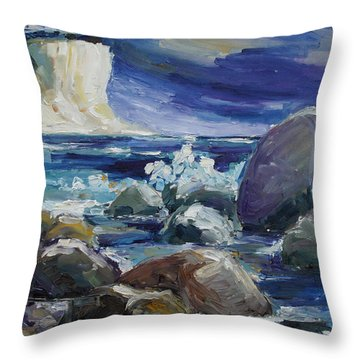 Approaching Storm At Kap Arkona Throw Pillow by Barbara Pommerenke