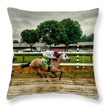 Approaching The Far Turn Throw Pillow