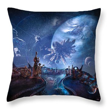 Approaching The Station Throw Pillow