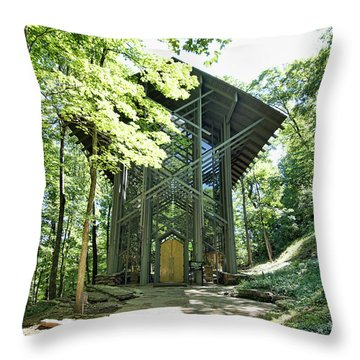 Throw Pillow featuring the photograph Approaching Thorncrown Chapel by Cricket Hackmann