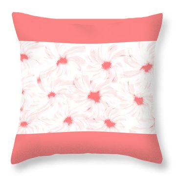 'apricot And White Flower Abstract 2' Throw Pillow