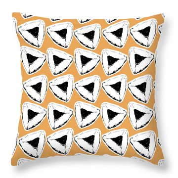 Throw Pillow featuring the mixed media Apricot Hamentashen- Art By Linda Woods by Linda Woods