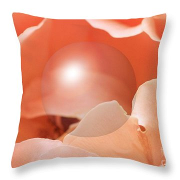 Apricot Rose With Sphere Throw Pillow