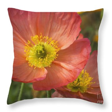 Apricota Poppies Throw Pillow