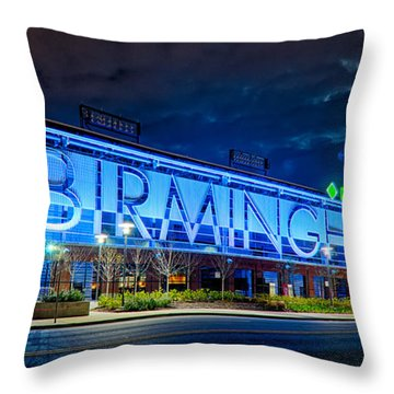 April 2015 -  Birmingham Alabama Baseball Regions Field At Night Throw Pillow
