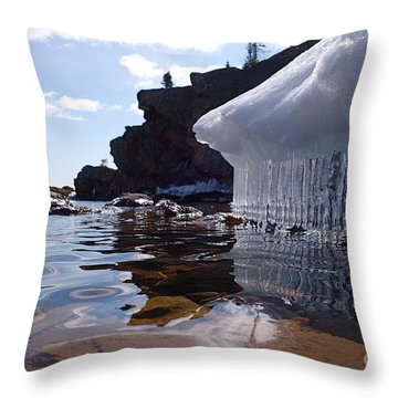 Throw Pillow featuring the photograph April Brings Superior Icicles by Sandra Updyke