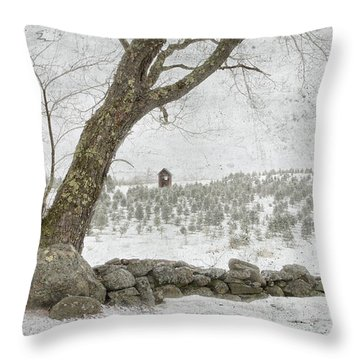 April Christmas Tree Farm Throw Pillow