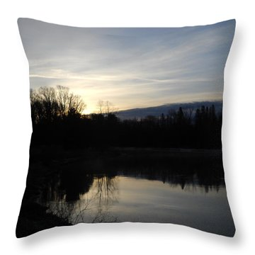 April Dawn Reflection On Mississippi Throw Pillow by Kent Lorentzen