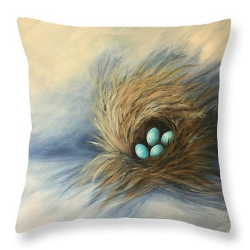 April Nest Throw Pillow