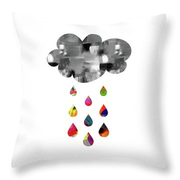 Throw Pillow featuring the mixed media April Showers- Art By Linda Woods by Linda Woods