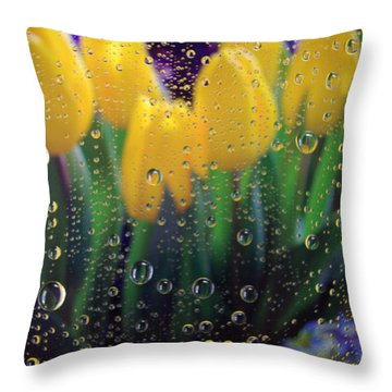 April Showers Throw Pillow by Linda Mishler