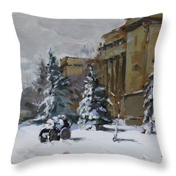 April Snow By The Nacc Throw Pillow
